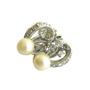 Vintage 1950s Faux Pearl Screwback Earrings